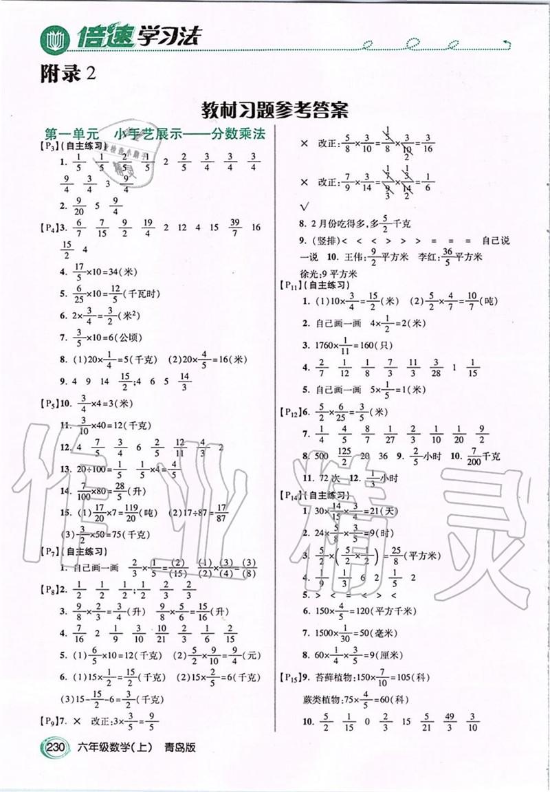 青岛版六年级上册数学书答案