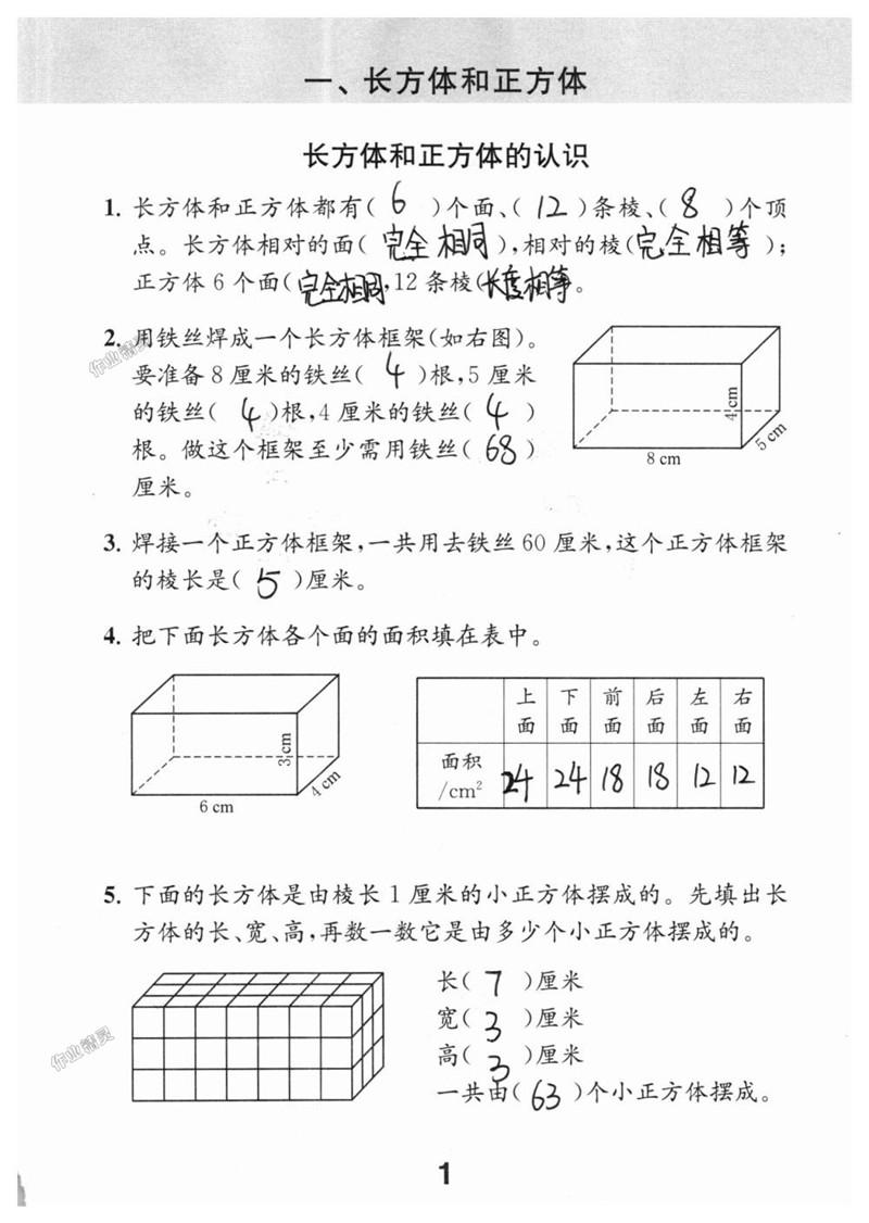 苏教版六年级上册数学补充习题答案