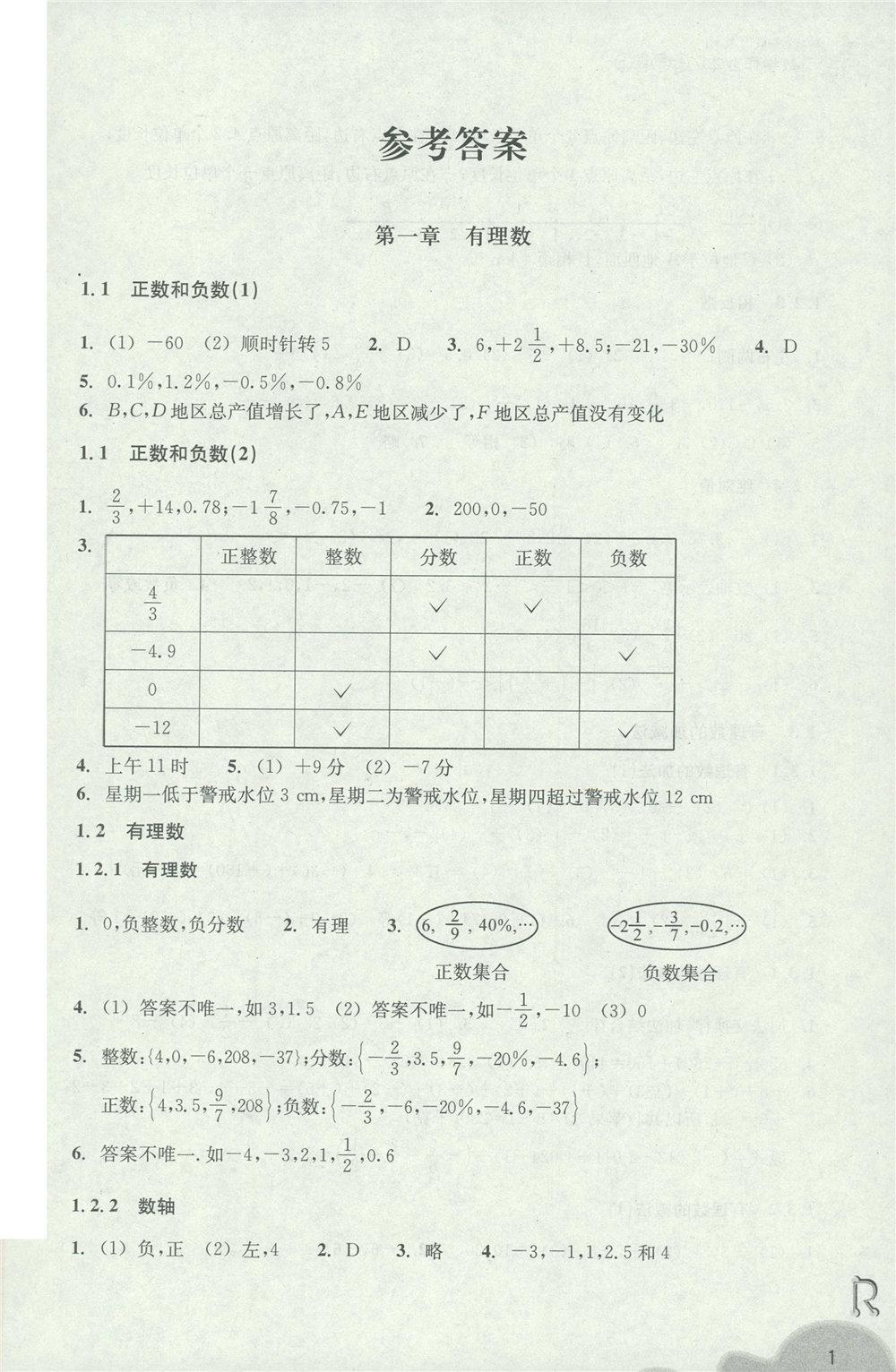 人教版七年级上册数学作业本答案