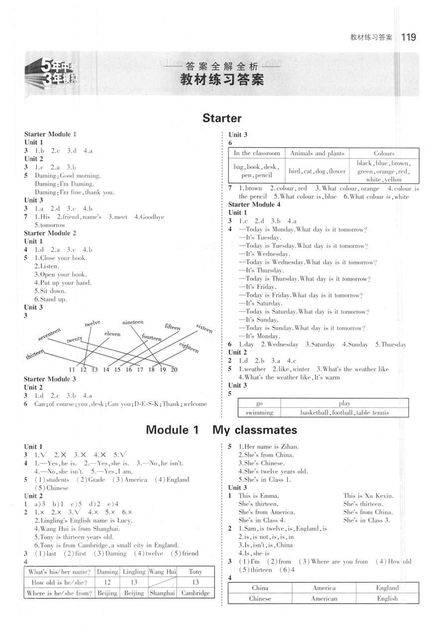 外研版七年级上册英语书答案